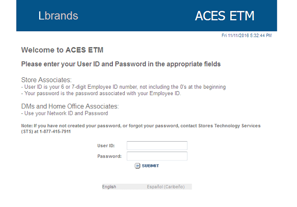 Limted Brands Aces ETM Login