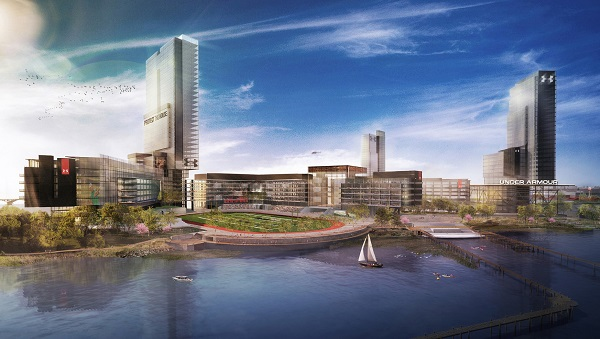 Image Copyright: Under Armour. A rendering of the future 50 acre Under Armour HQ Campus at Port Covington, Baltimore.